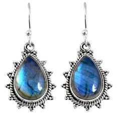 11.57cts natural blue labradorite 925 sterling silver dangle earrings r59671