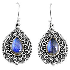 5.52cts natural blue labradorite 925 sterling silver dangle earrings r59738