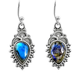 6.09cts natural blue labradorite 925 sterling silver dangle earrings r60458