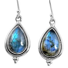 9.86cts natural blue labradorite 925 sterling silver dangle earrings r60557
