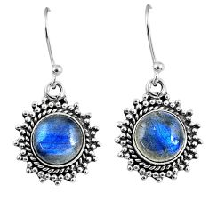 6.57cts natural blue labradorite 925 sterling silver dangle earrings r60599