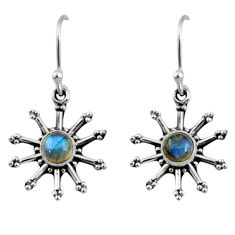 1.42cts natural blue labradorite 925 sterling silver dangle earrings r60700