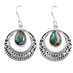 5.09cts natural blue labradorite 925 sterling silver dangle earrings r60973