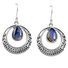 5.24cts natural blue labradorite 925 sterling silver dangle earrings r60974