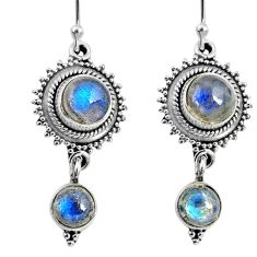 8.54cts natural blue labradorite 925 sterling silver dangle earrings r64149