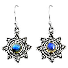 2.47cts natural blue labradorite 925 sterling silver dangle earrings r65102