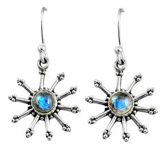 2.57cts natural blue labradorite 925 sterling silver dangle earrings r65103