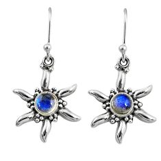 2.21cts natural blue labradorite 925 sterling silver dangle earrings r65108