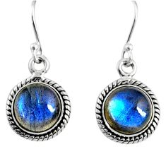 7.56cts natural blue labradorite 925 sterling silver dangle earrings r66423