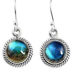7.97cts natural blue labradorite 925 sterling silver dangle earrings r66434