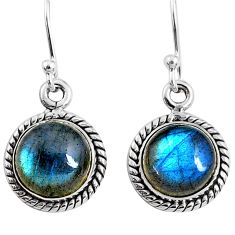 7.97cts natural blue labradorite 925 sterling silver dangle earrings r66438