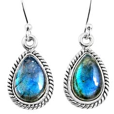 9.37cts natural blue labradorite 925 sterling silver dangle earrings r66441