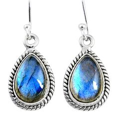 8.87cts natural blue labradorite 925 sterling silver dangle earrings r66442
