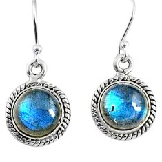 7.93cts natural blue labradorite 925 sterling silver dangle earrings r66443