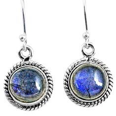 7.93cts natural blue labradorite 925 sterling silver dangle earrings r66445