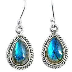 9.37cts natural blue labradorite 925 sterling silver dangle earrings r66446