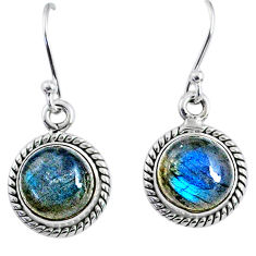 7.93cts natural blue labradorite 925 sterling silver dangle earrings r66447