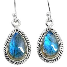 8.87cts natural blue labradorite 925 sterling silver dangle earrings r66450