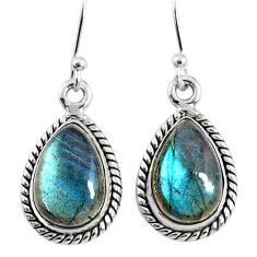 8.87cts natural blue labradorite 925 sterling silver dangle earrings r66454