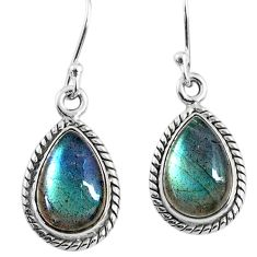 8.87cts natural blue labradorite 925 sterling silver dangle earrings r66456