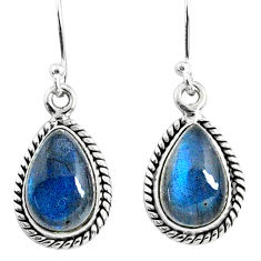 8.82cts natural blue labradorite 925 sterling silver dangle earrings r66457