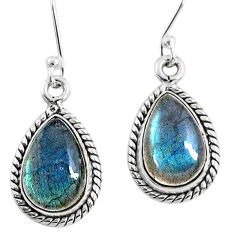 8.82cts natural blue labradorite 925 sterling silver dangle earrings r66460