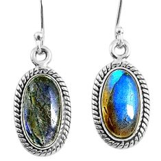 8.38cts natural blue labradorite 925 sterling silver dangle earrings r66496