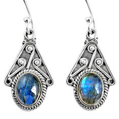 4.18cts natural blue labradorite 925 sterling silver dangle earrings r67053