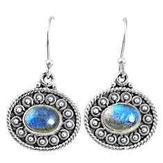 4.26cts natural blue labradorite 925 sterling silver dangle earrings r67117