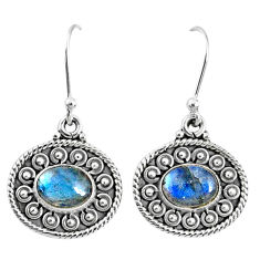 4.30cts natural blue labradorite 925 sterling silver dangle earrings r67119