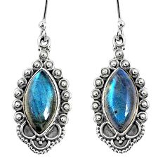 11.23cts natural blue labradorite 925 sterling silver dangle earrings r67137