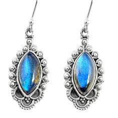 9.98cts natural blue labradorite 925 sterling silver dangle earrings r67139