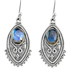 4.53cts natural blue labradorite 925 sterling silver dangle earrings r67171