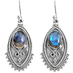 4.22cts natural blue labradorite 925 sterling silver dangle earrings r67173