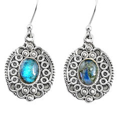 4.49cts natural blue labradorite 925 sterling silver dangle earrings r67218