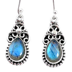 6.70cts natural blue labradorite 925 sterling silver dangle earrings r74838