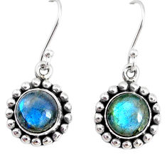 6.93cts natural blue labradorite 925 sterling silver dangle earrings r74874