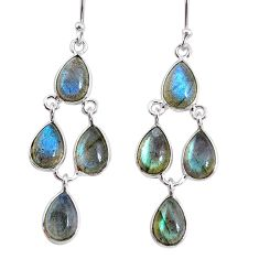 13.63cts natural blue labradorite 925 sterling silver dangle earrings r74992