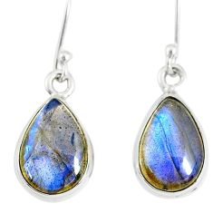 9.37cts natural blue labradorite 925 sterling silver dangle earrings r77277