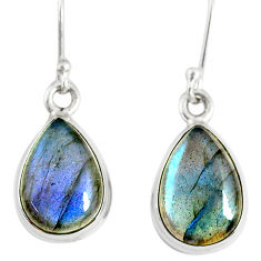 9.86cts natural blue labradorite 925 sterling silver dangle earrings r77280