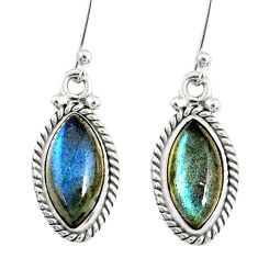 9.86cts natural blue labradorite 925 sterling silver dangle earrings r77291