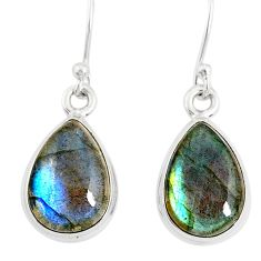 9.86cts natural blue labradorite 925 sterling silver dangle earrings r77294