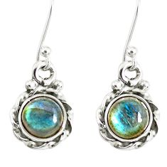 3.41cts natural blue labradorite 925 sterling silver dangle earrings r77317