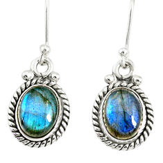 4.61cts natural blue labradorite 925 sterling silver dangle earrings r77322