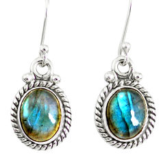 4.62cts natural blue labradorite 925 sterling silver dangle earrings r77323