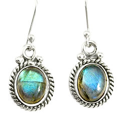 4.34cts natural blue labradorite 925 sterling silver dangle earrings r77325