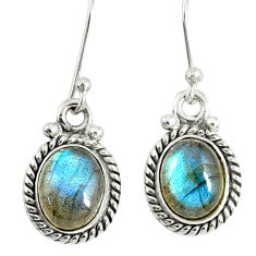 4.40cts natural blue labradorite 925 sterling silver dangle earrings r77326