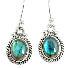 4.67cts natural blue labradorite 925 sterling silver dangle earrings r77330