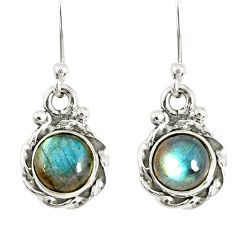 3.17cts natural blue labradorite 925 sterling silver dangle earrings r77335