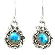 3.17cts natural blue labradorite 925 sterling silver dangle earrings r77337